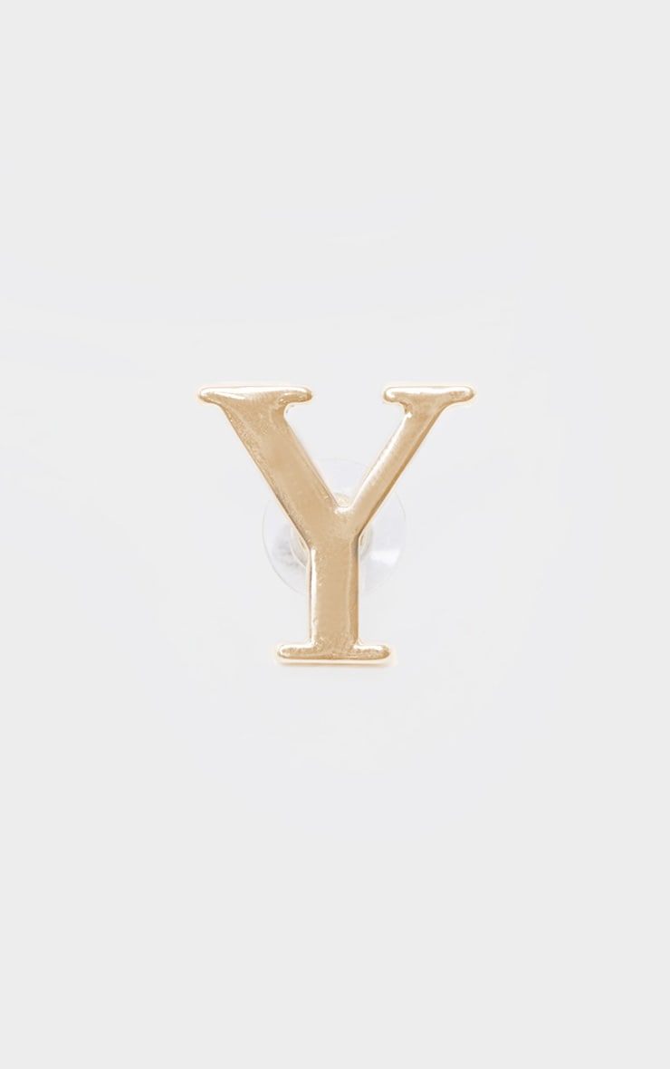 Boucles d'oreilles dorées à clou lettre Y 3