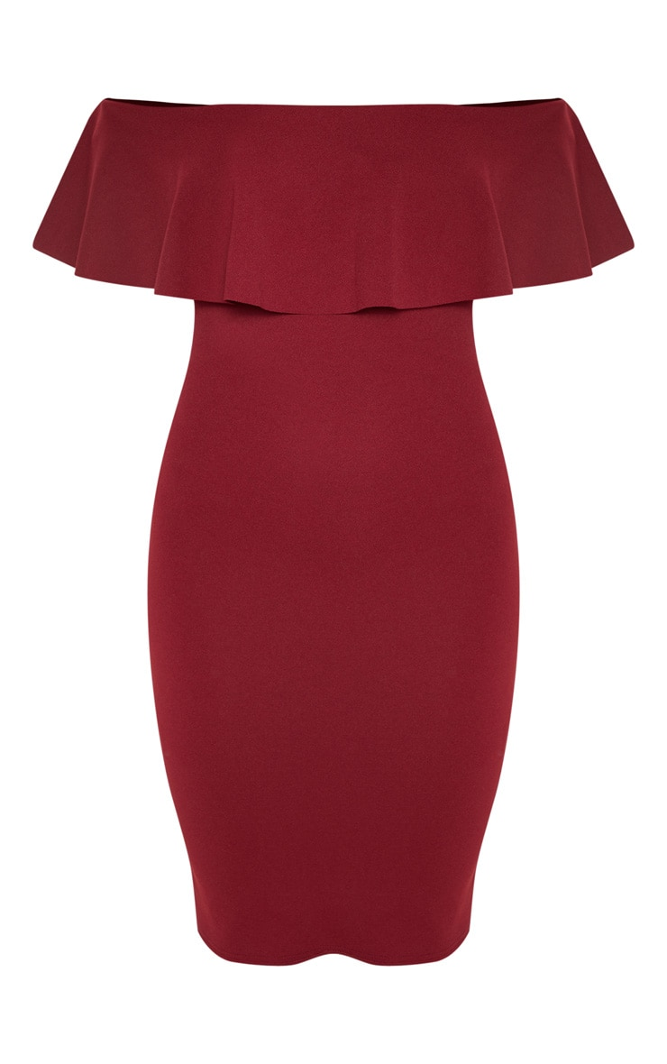 Celinea Burgundy Bardot Frill Midi Dress 3