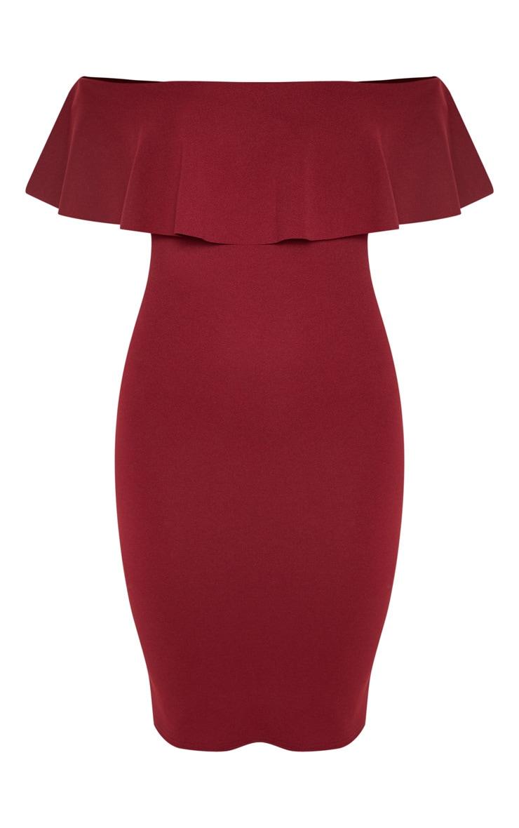 Celinea Burgundy Bardot Frill Midi Dress 4
