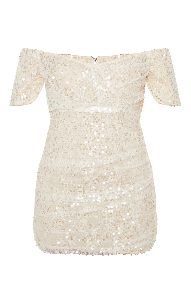 Nude Sequin Lace Detail Ruched Bardot Bodycon Dress 3