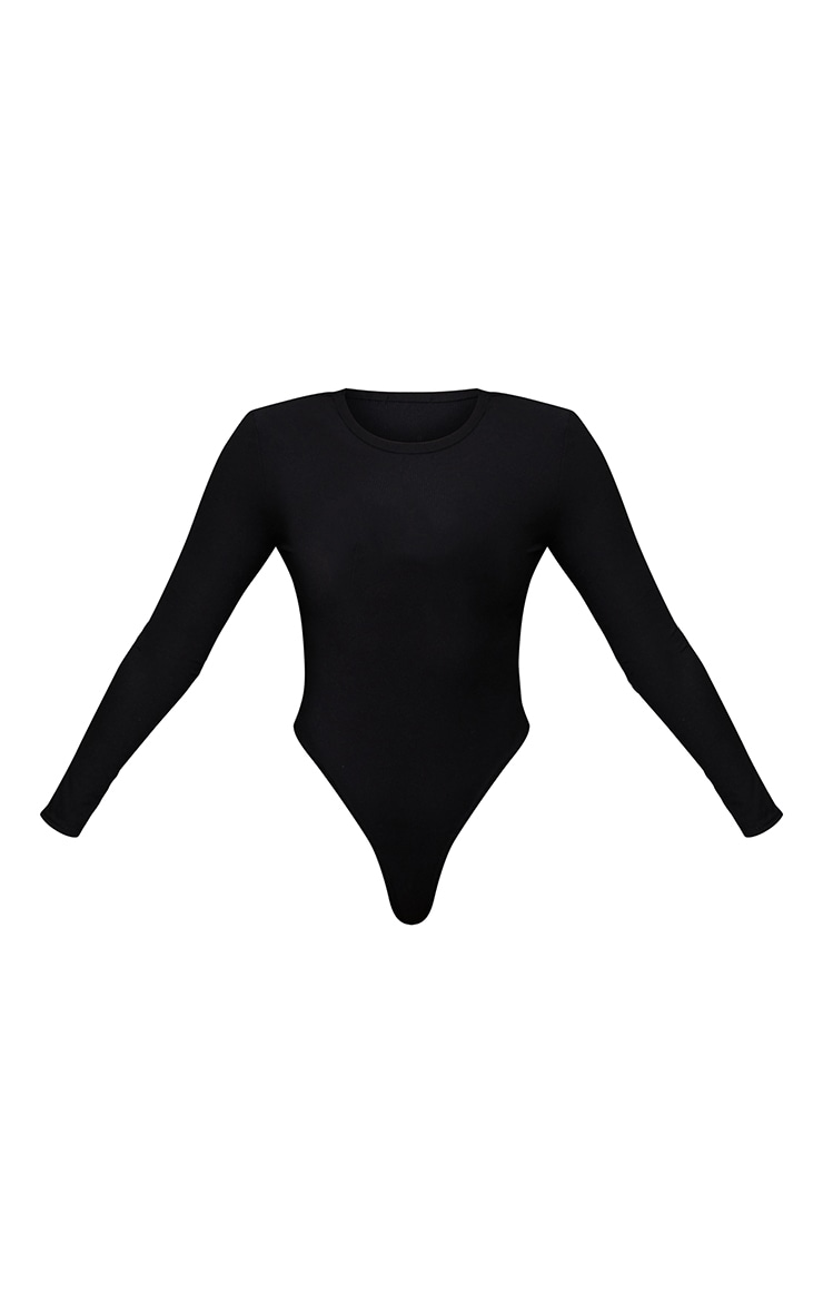 Tall Black Ribbed Shoulder Pad Long Sleeve Bodysuit 5
