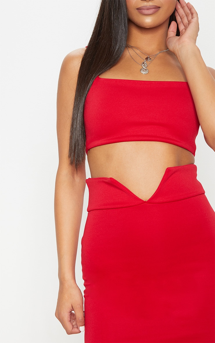 Red Strappy Cut Out Curve Waist Bodycon Dress 5