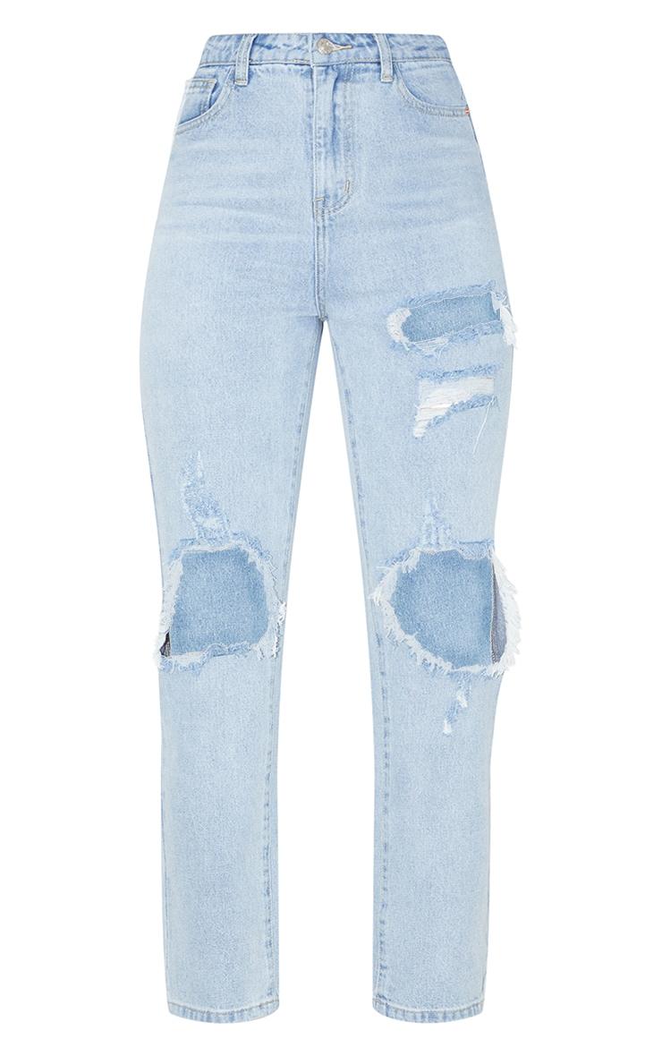 PRETTYLITTLETHING Light Wash Distressed Straight Leg Jean 1