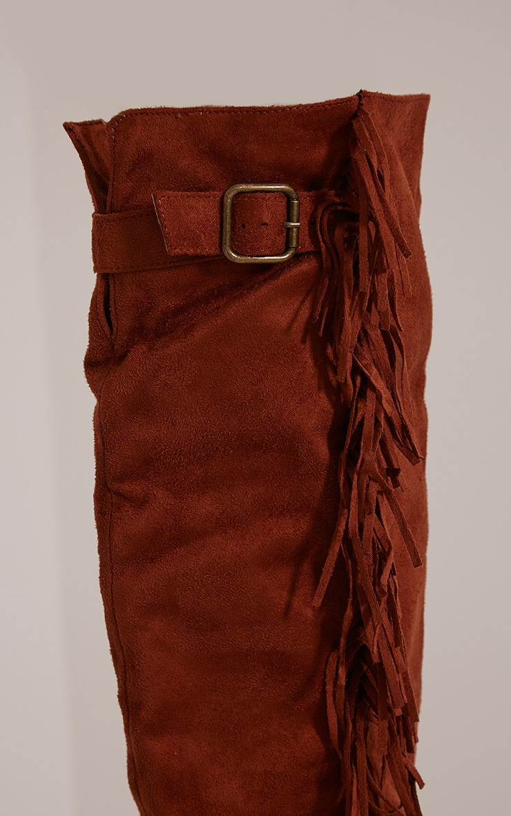 Larie Tan Over The Knee Fringed Boots 5
