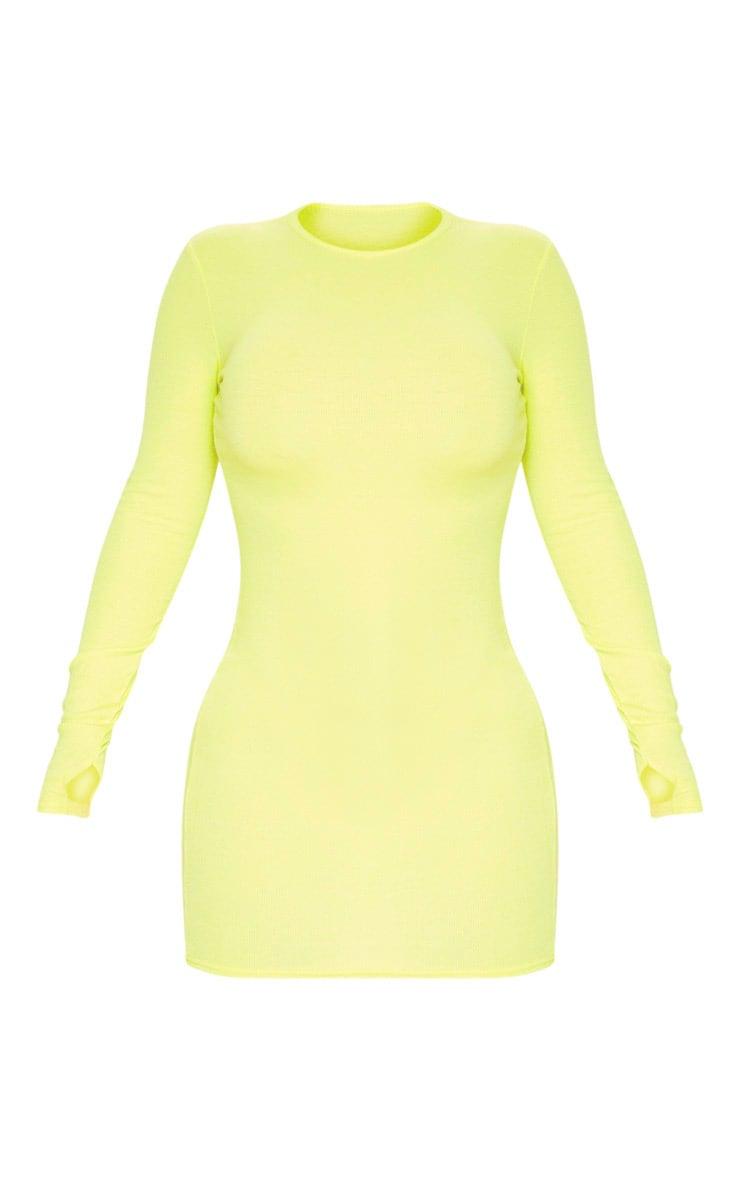 Robe moulante vert citron fluo à manches longues et trous pour les pouces 3