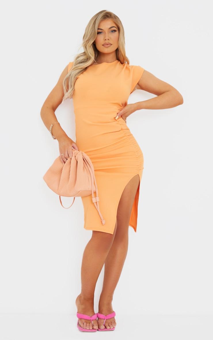Tangerine Draped Ruched Skirt Midi Dress 1