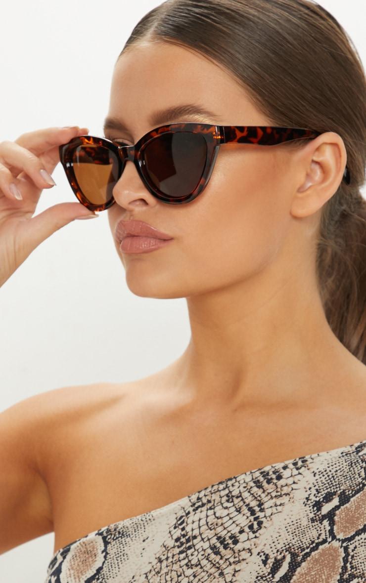 Brown Tortoiseshell Oversized Cat Eye Frame Sunglasses