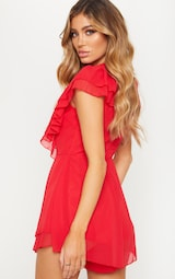 Red Chiffon Frill Plunge Playsuit 2