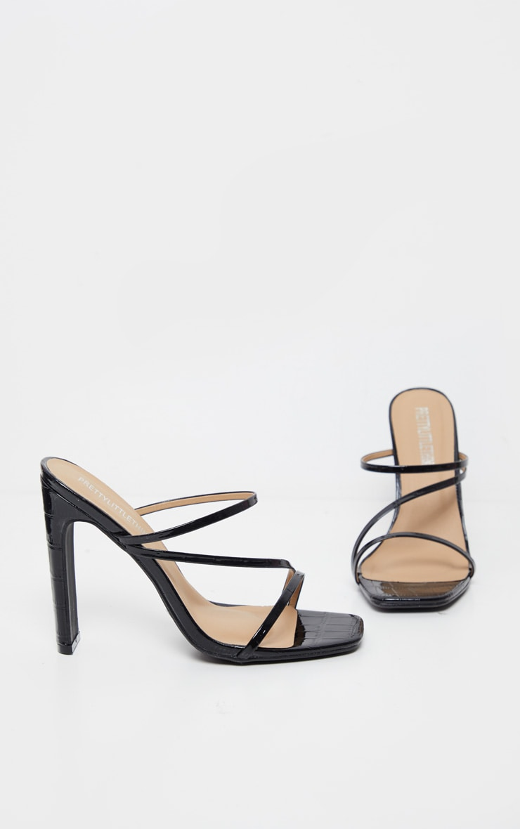 Black Wide Fit Square Toe Flat Heel Strappy Mule 3