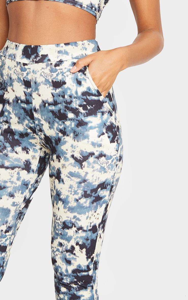 Pantalon taille haute gris imprimé tie & dye 4