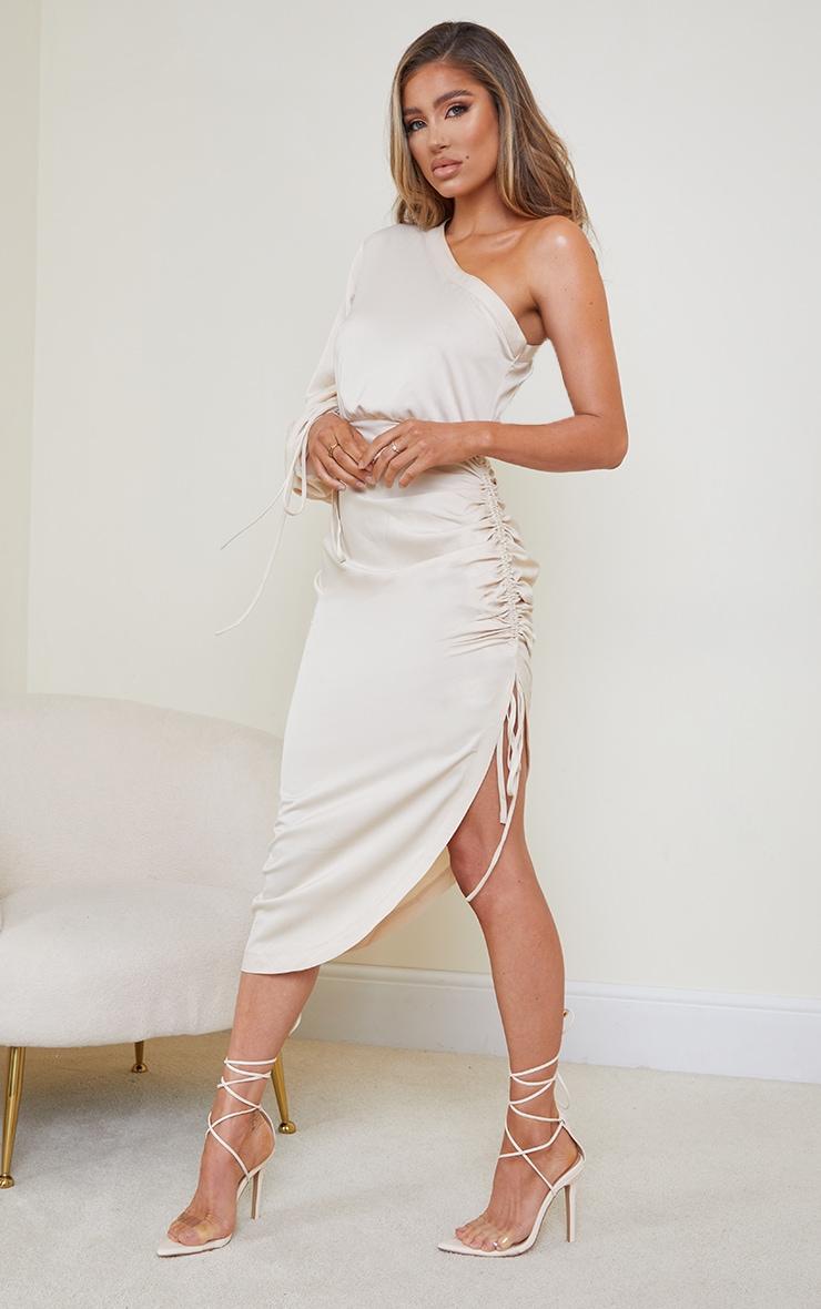 Stone Ruched Sleeve One Shoulder Midi Dress 3