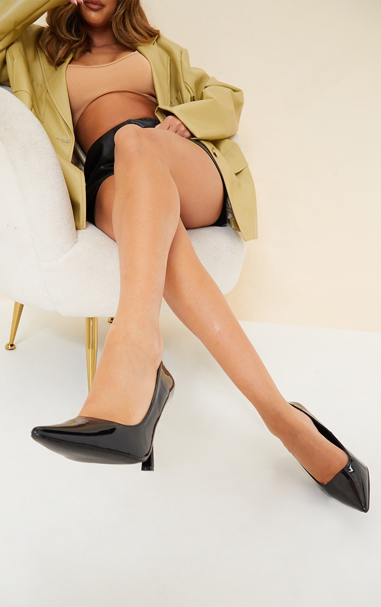 Black Patent Pointed Heeled Courts 2