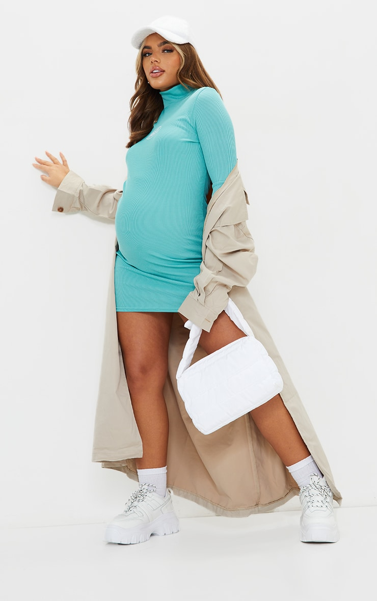 Maternity Washed Green High Neck Ribbed  Mini Dress 3