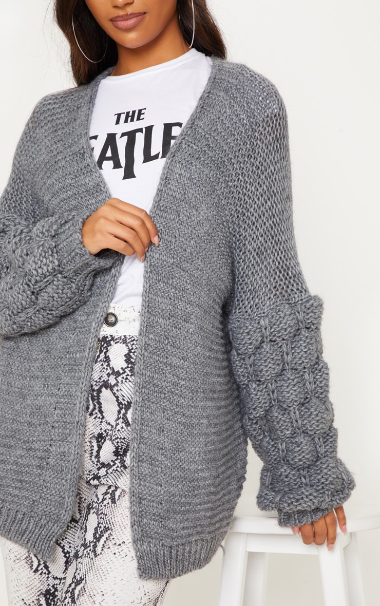 Grey Knitted Bubble Sleeve Cardigan 5