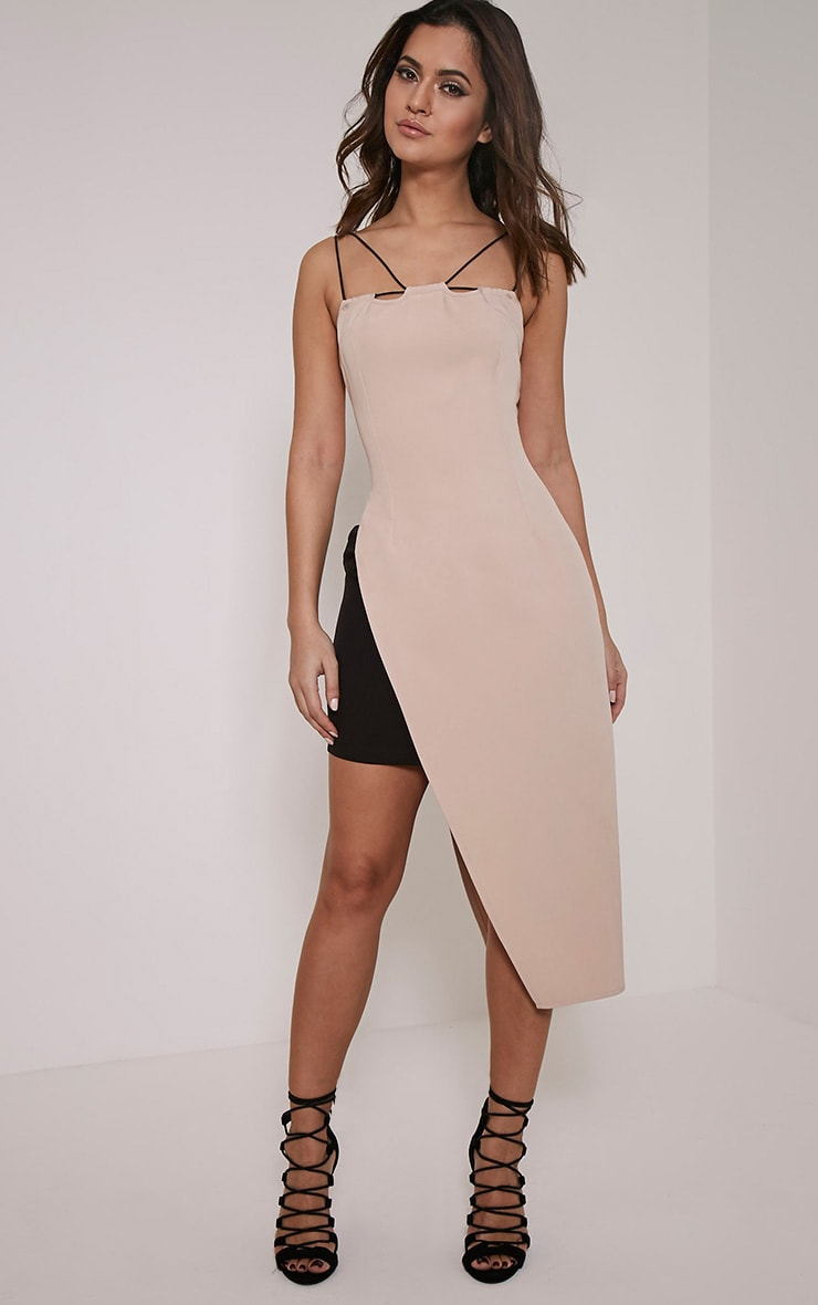 Mirielle Nude Double Strap Asymmetric Bodycon Dress 1