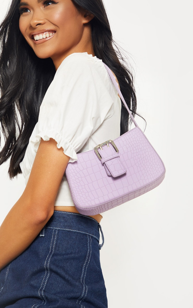 Lilac Croc Buckle Front Shoulder Bag 1