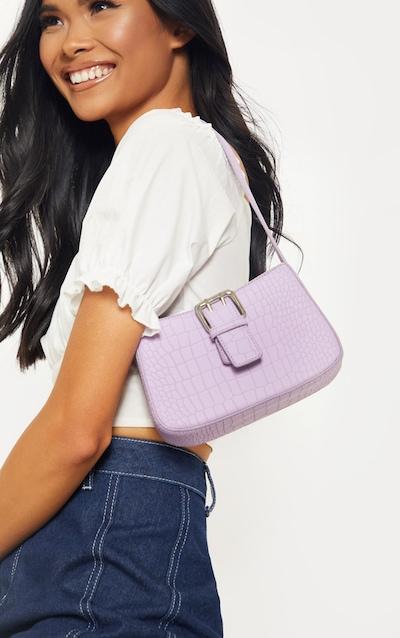 Lilac Croc Buckle Front Shoulder Bag