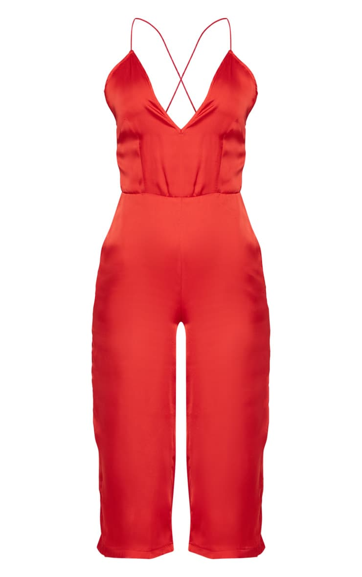 Red Strappy Back Plunge Culotte Jumpsuit  3