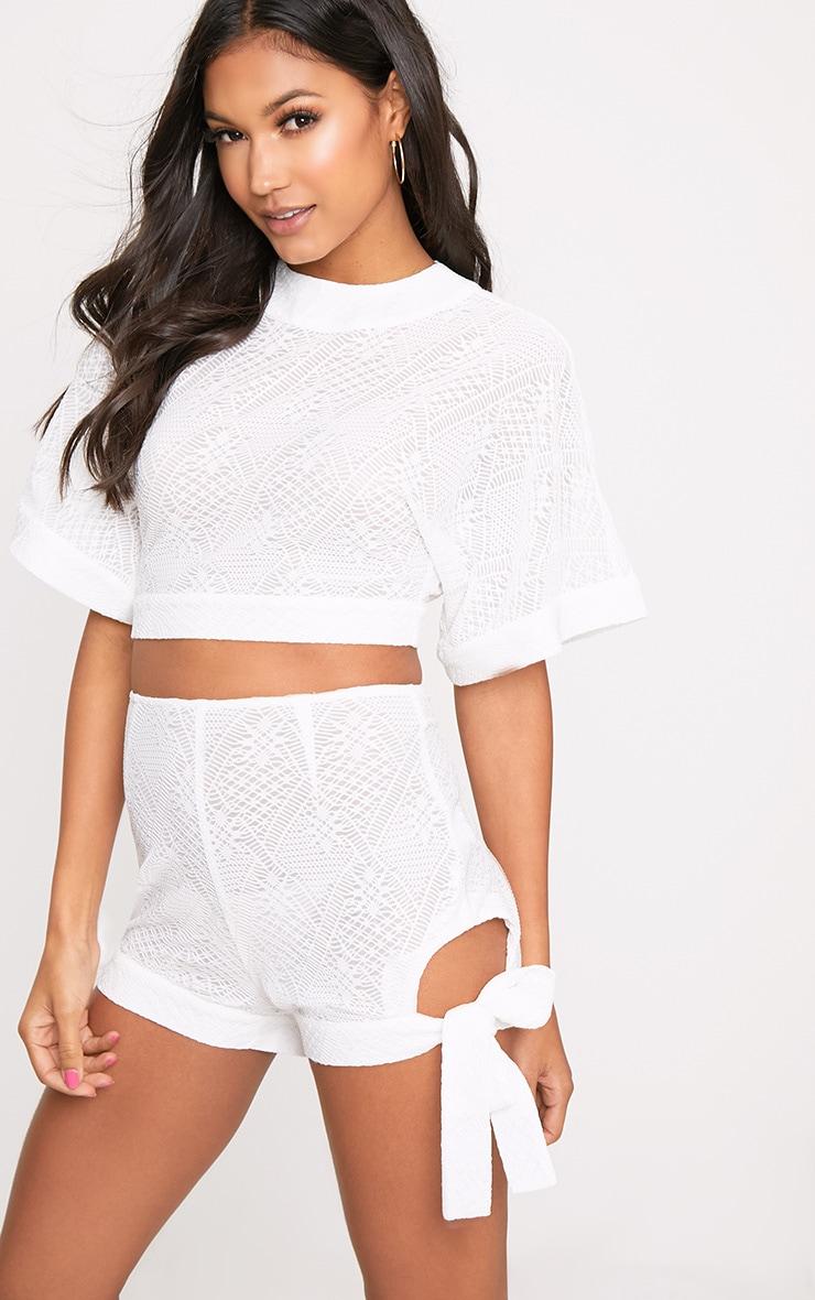 White Cut Out Tie Hem Shorts 1