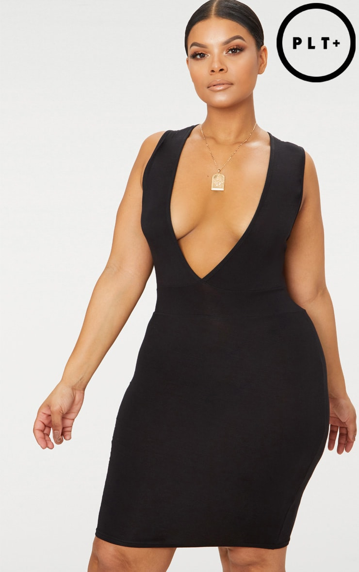 Plus Black Jersey Plunge Bodycon Dress 1