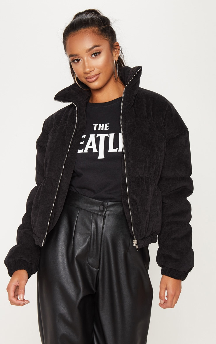 Petite Black Satin Puffer Coat  1