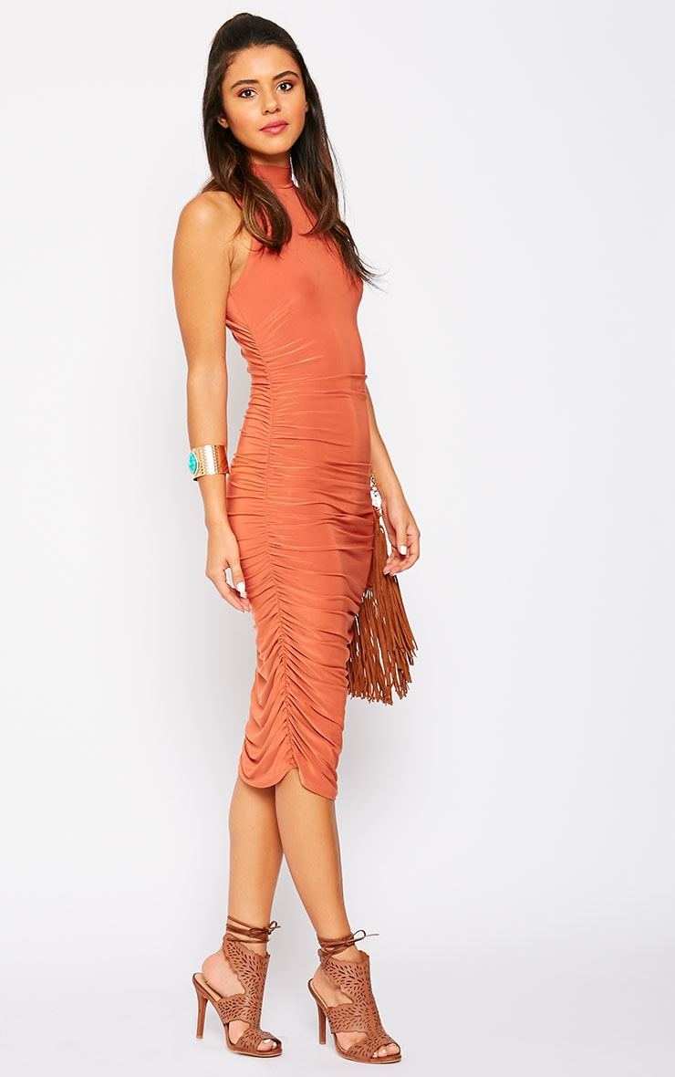 Alabama Rust Slinky High Neck Ruched Sides Dress 4
