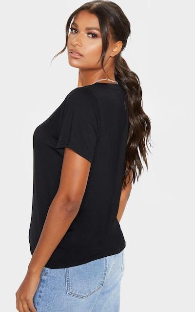 Basic Black Jersey V Plunge T Shirt