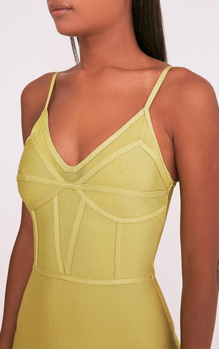 Bethan Dark Lime Bandage Mesh Insert Midi Dress 6