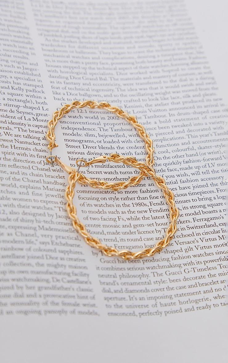 Gold Medium Twisted Hoop Earrings 3