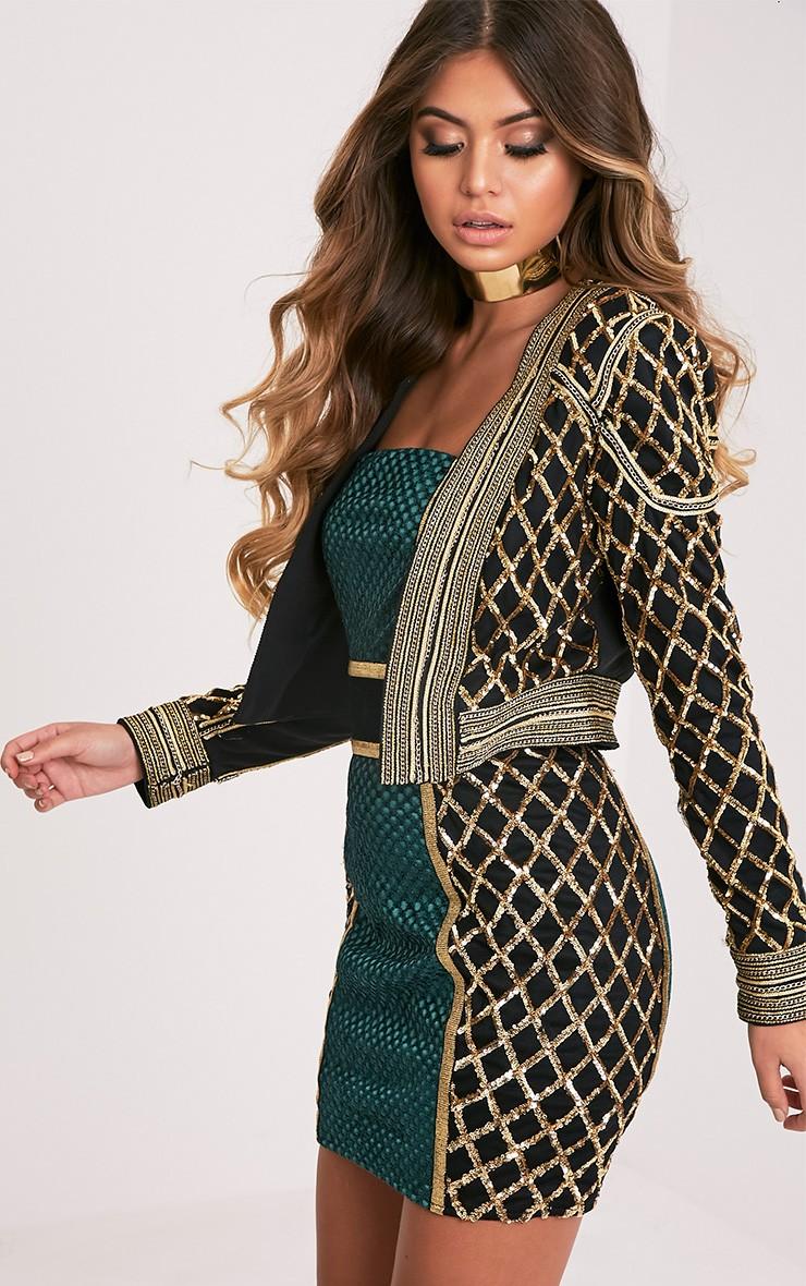 Malia Premium veste courte noir à ornements à sequins 3