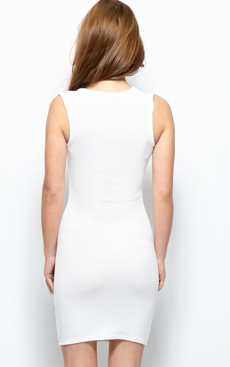 Brooke White Plunge V Neck Bodycon Dress 2