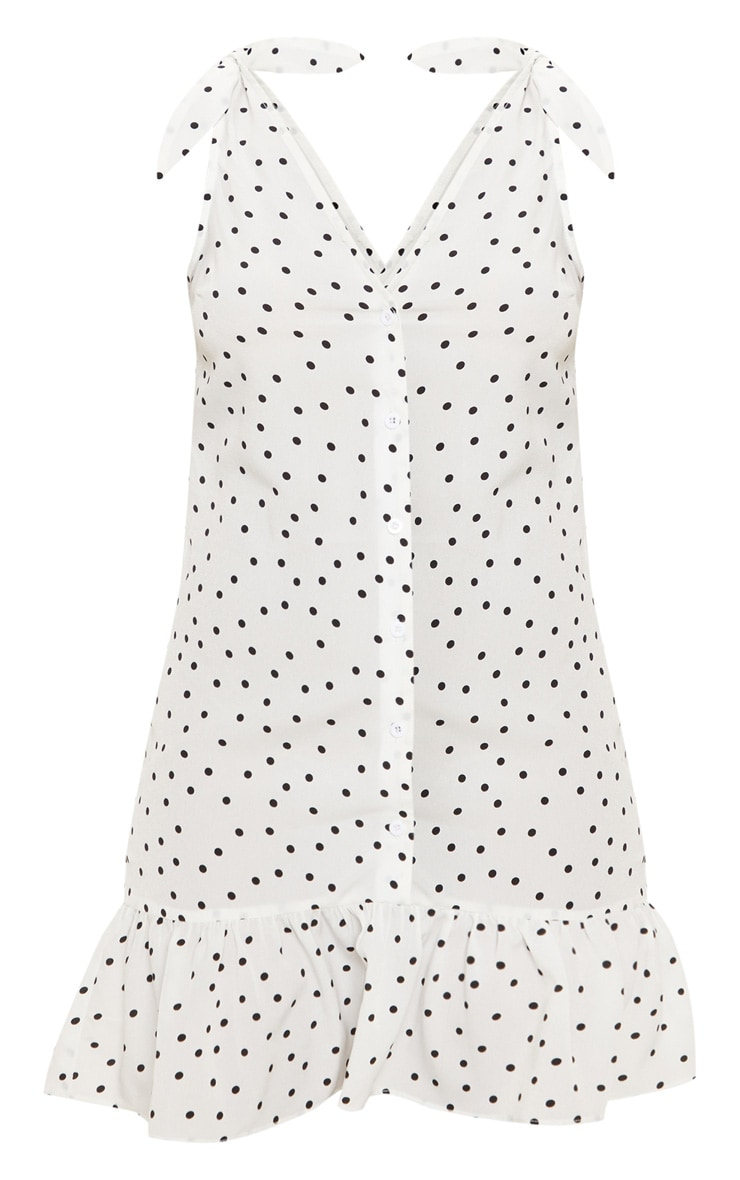 White Polka Dot Button Through Shift Dress 3