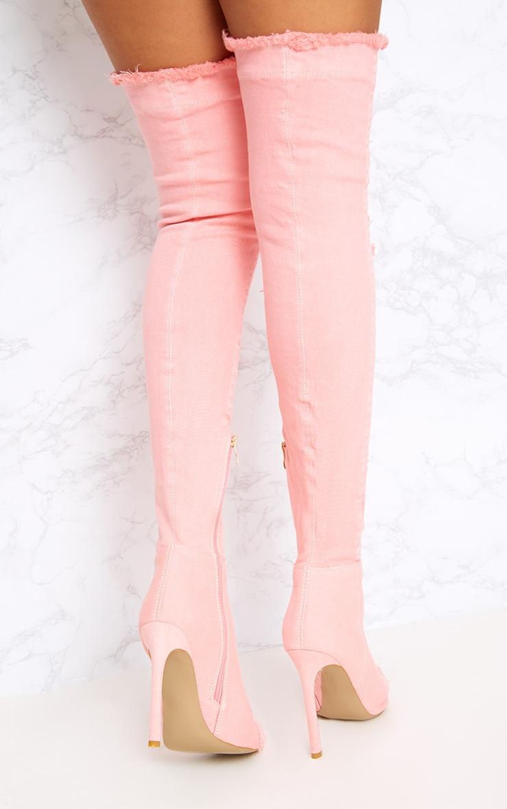 Pink Distressed Denim Thigh Boots 4