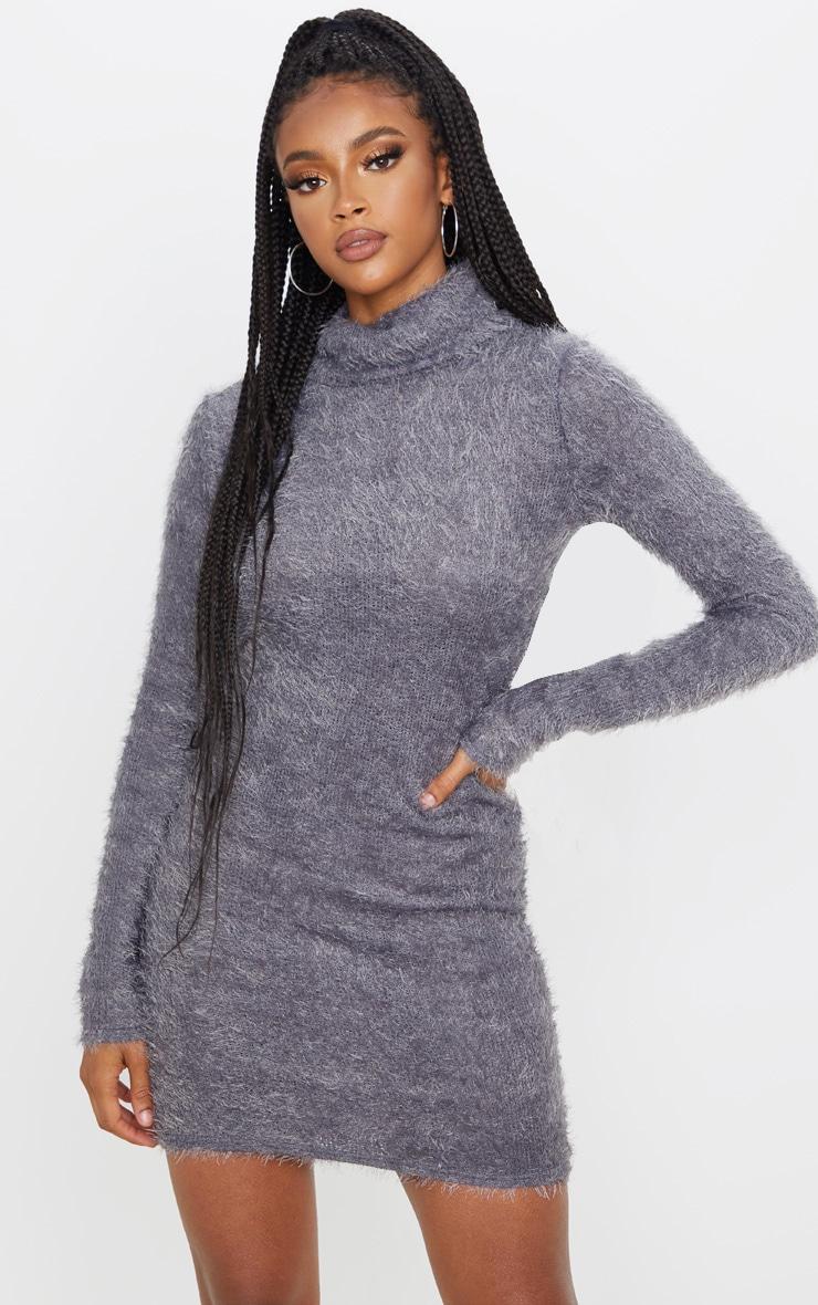 boy super cheap compares to look for Grey Eyelash Cowl Neck Bodycon Jumper Dress
