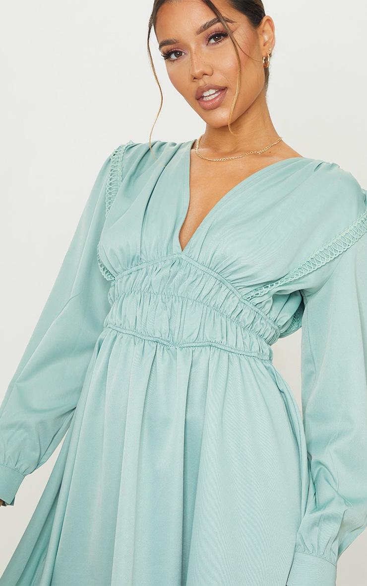 Sage Green  Ruched Waist Trim Detail V Neck Shift Dress 4