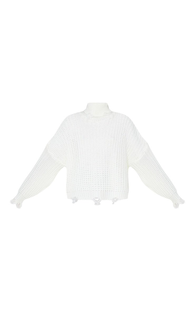 Ivory Distressed Detail Roll Neck Jumper 3