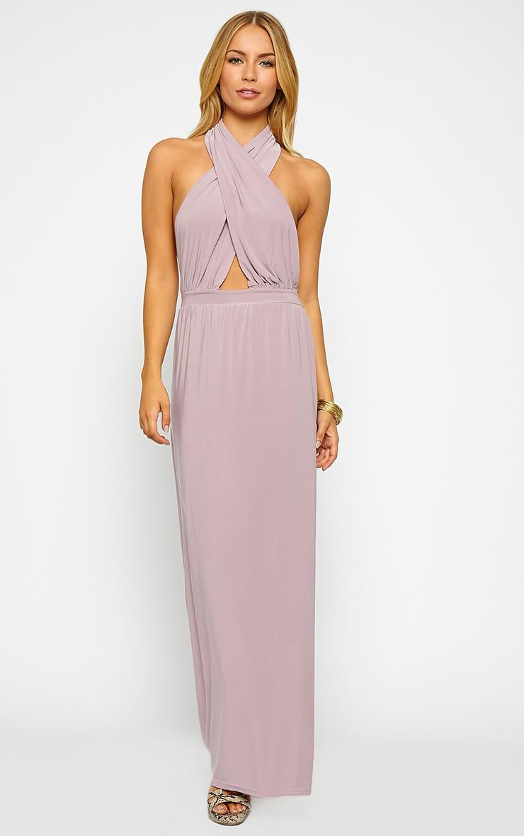 Satina Lilac Halterneck Maxi Dress 4