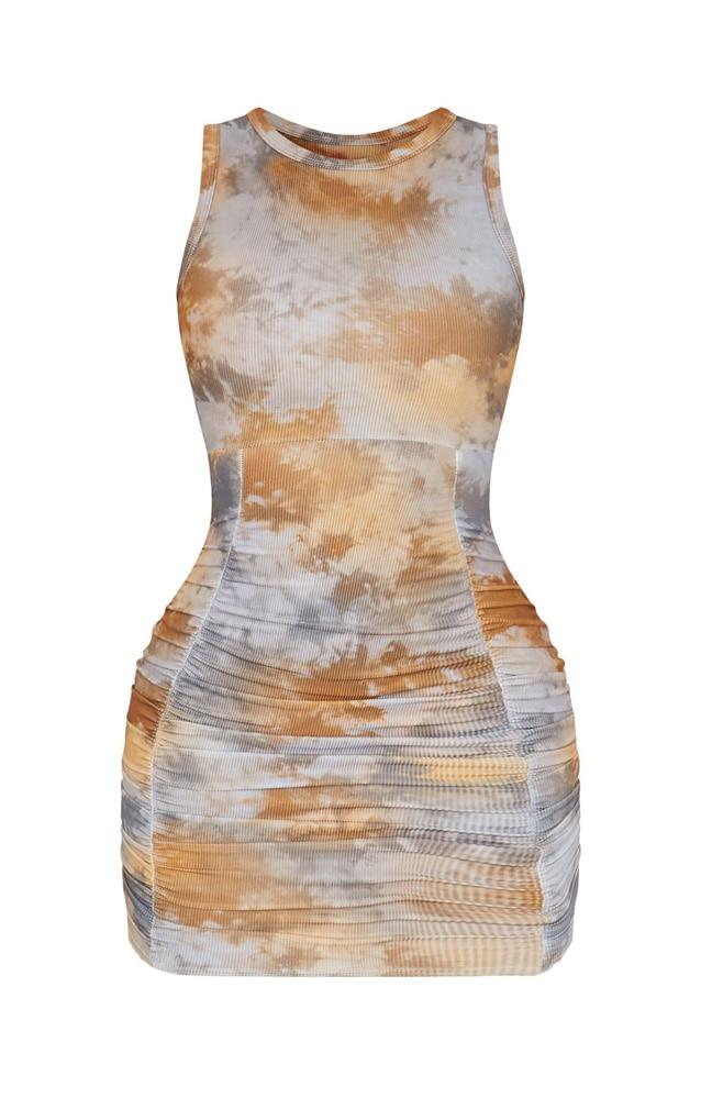 Robe moulante froncée sans manches multicolore côtelée à imprimé tie & dye 5