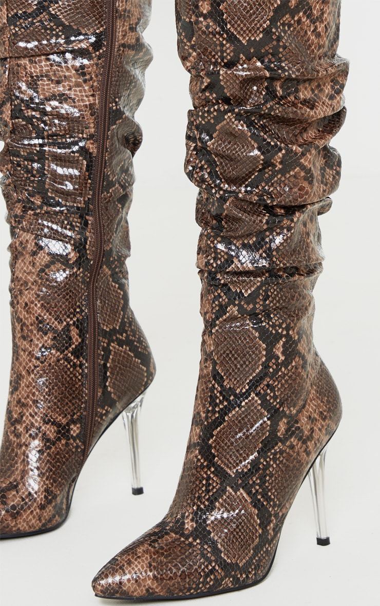 Brown Snake Knee High Clear Heel Square Toe Slouch Boot 4