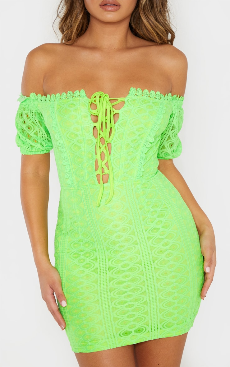 Neon Lime Lace Up Bardot Lace Bodycon Dress 5
