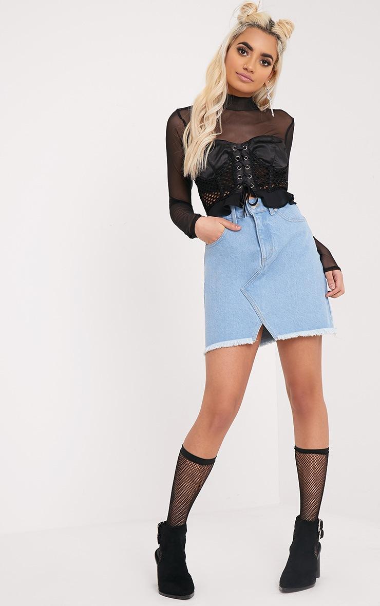 Hanele Light Wash Fray Hem Denim Mini Skirt 1