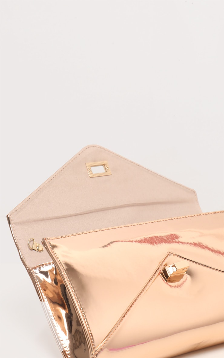Rose Gold Metallic PU Twist Lock Clutch Bag 5