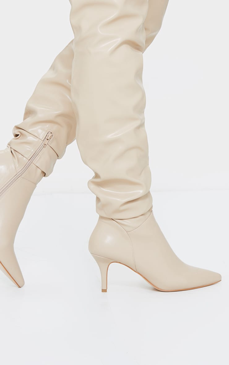 Beige Matte PU Point Toe Low Heeled Over The Knee Boots 4