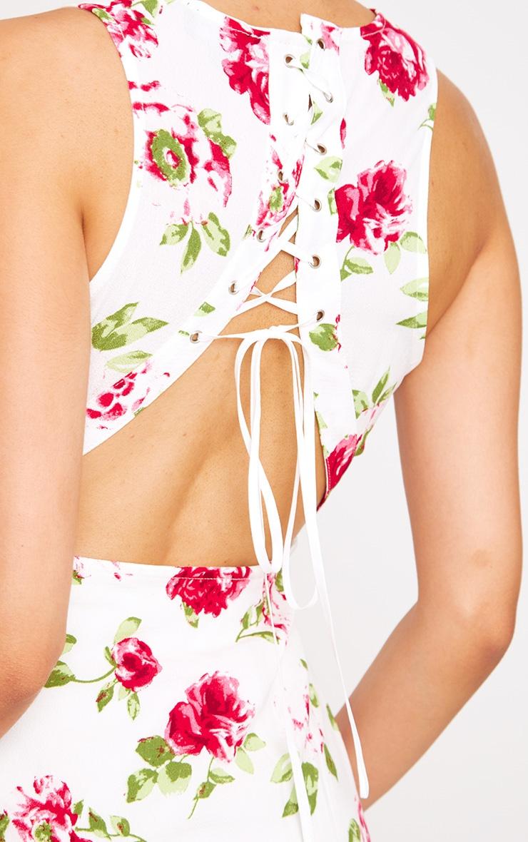 White Floral Lace Up Back Midi Dress 5