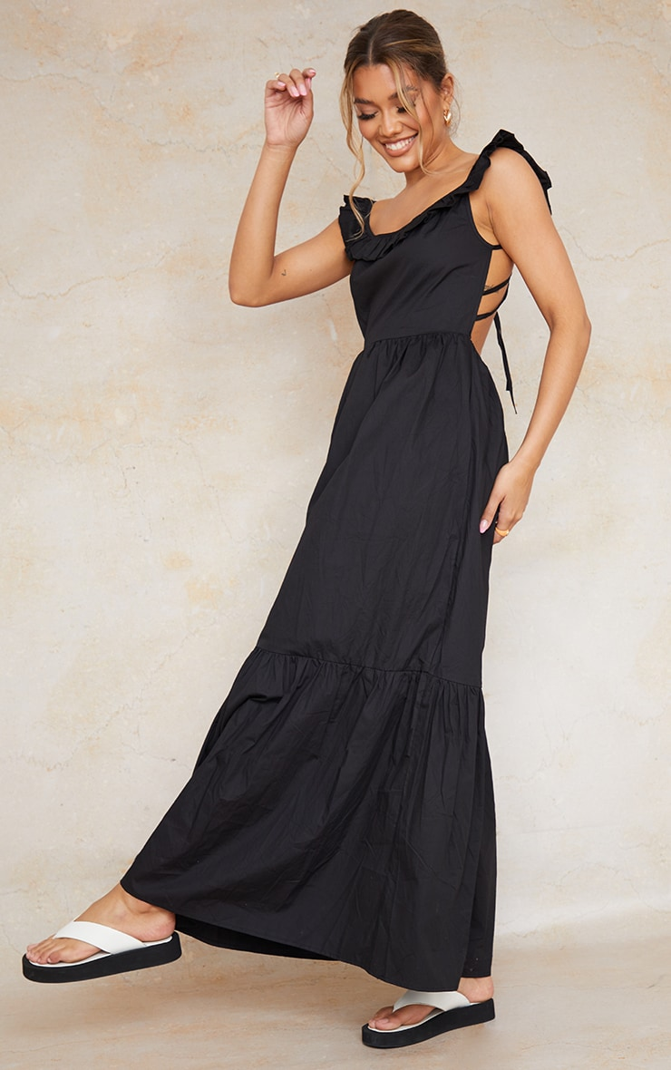 Black Woven Frill Strap Tie Back Tiered Maxi Dress image 2