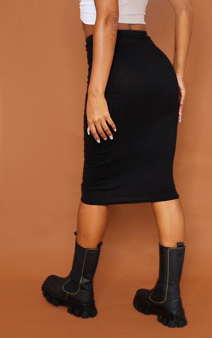 تنورة متوسطة الطول من قماش الجيرسي باللون الكاكي والأسود السادة - قطعتين 3