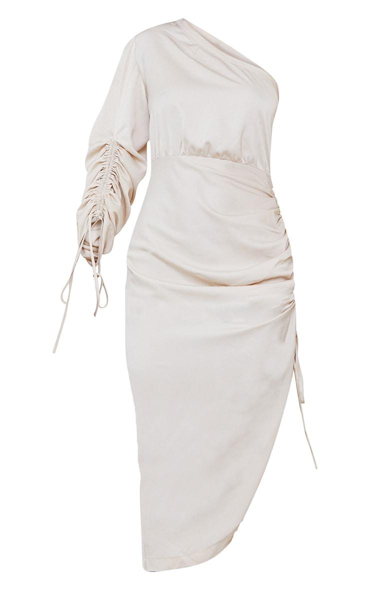 Stone Ruched Sleeve One Shoulder Midi Dress 5