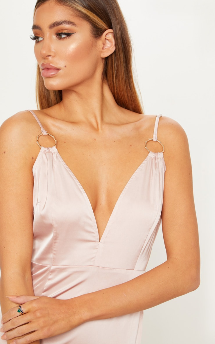 Champagne Ring Detail Extreme Plunge Maxi Dress  5