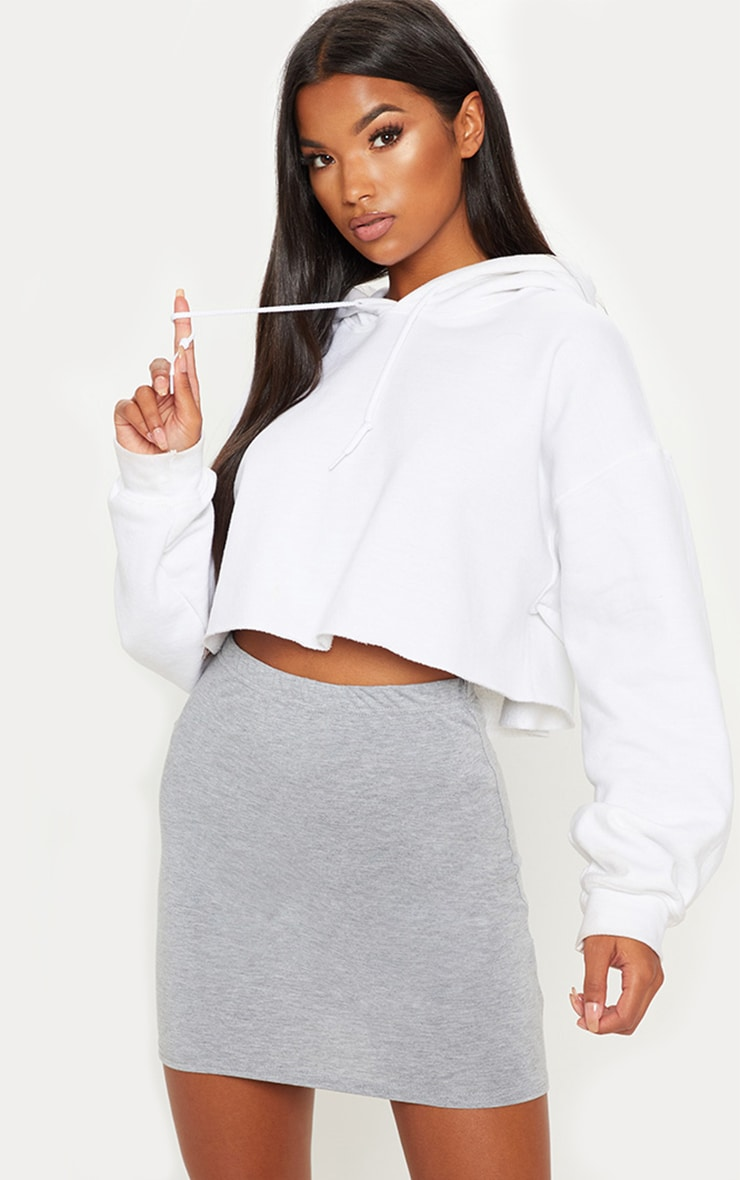 Grey Basic Jersey Mini Skirt 1