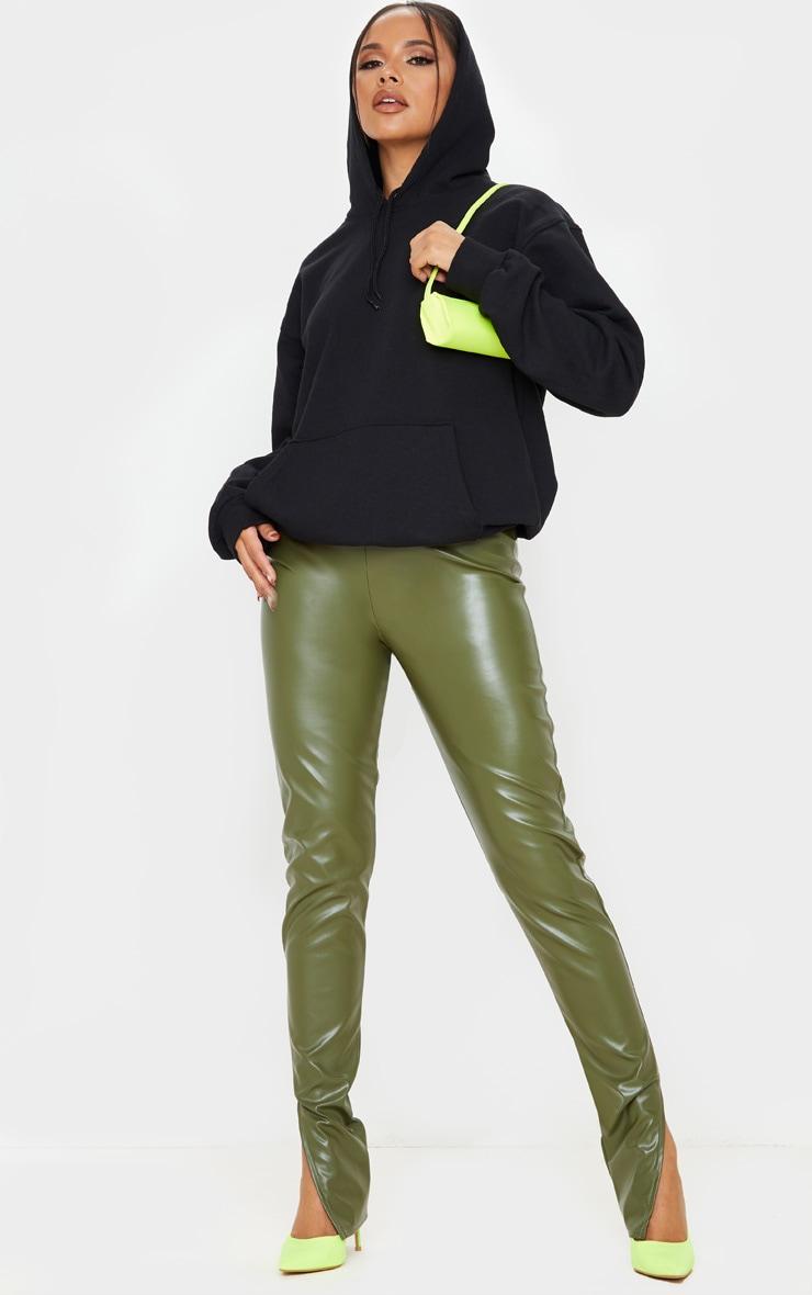 Khaki Faux Leather Split Hem Leggings 1